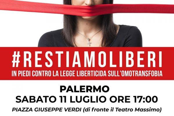 #RestiamoLiberi: manifestazione a Palermo contro legge sulla omotransfobia